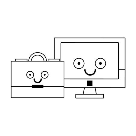 Computer screen and briefcase smiling cartoons vector illustration graphic design Ilustrace