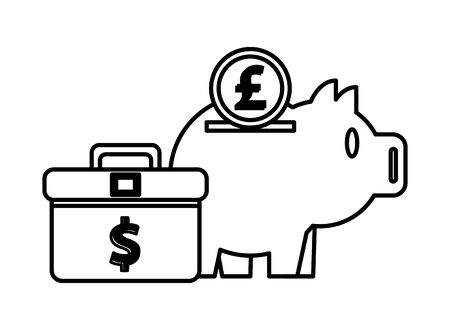 piggy savings money with portfolio and pound sterling vector illustration design