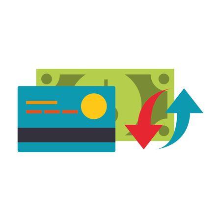 Credit card and cash bank symbol vector illustration graphic design