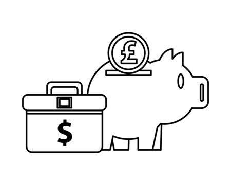 piggy savings money with portfolio and sterling pound vector illustration design  イラスト・ベクター素材