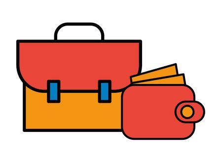 wallet money with portfolio icon vector illustration design 向量圖像