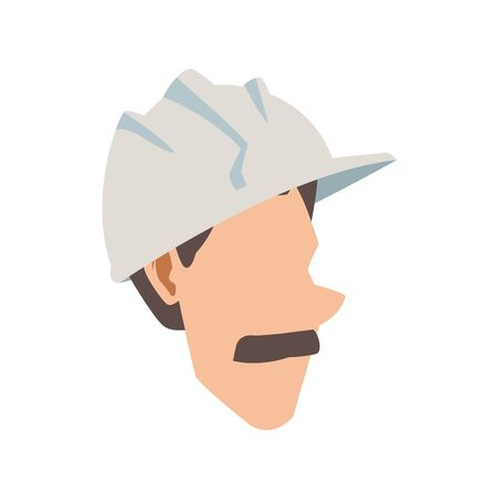 cartoon man with mustache and safety helmet icon over white background, vector illustration Foto de archivo - 138342316