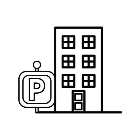 building front facade with parking signal vector illustration design