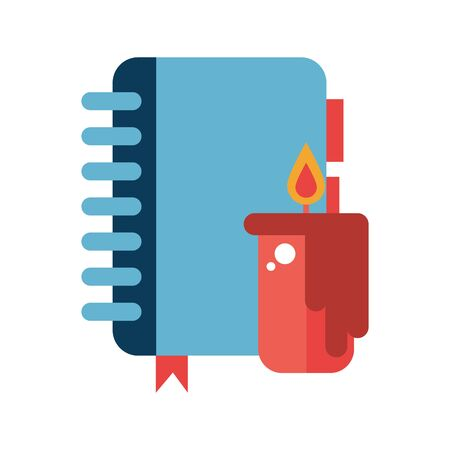 candle fire flame with notebook vector illustration design Illusztráció