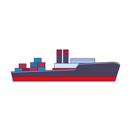 cargo ship icon over white background, vector illustration Banque d'images - 138345204