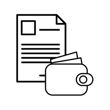 wallet money with paper document icon vector illustration design 向量圖像