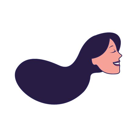profile of woman with long hair icon over white background, vector illustration Çizim