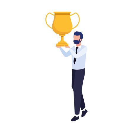 avatar businessman holding a trophy icon over white background, vector illustration Ilustrace