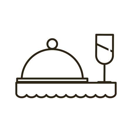 tray server menu with wine cup vector illustration design Illustration