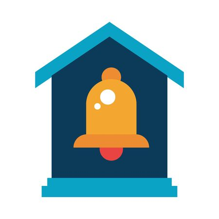 bell sound audio device with house vector illustration design