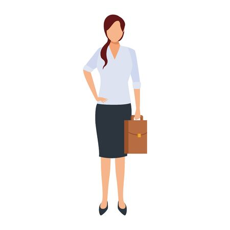 avatar businesswoman holding a briefcase icon over white background, vector illustration