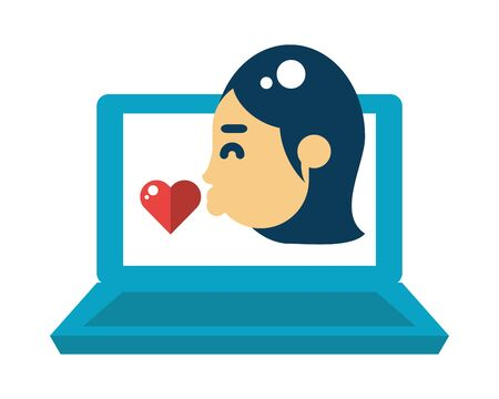 laptop computer with girlfriend kissing heart love vector illustration design