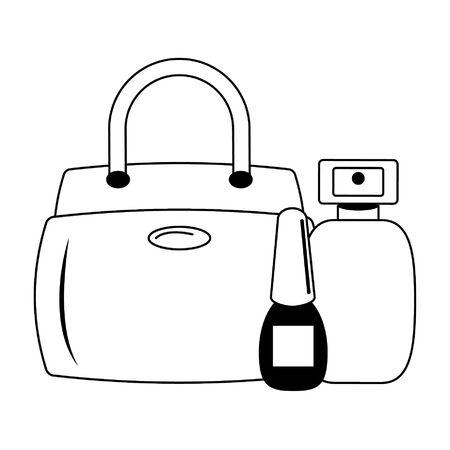 Make up and women fashion beauty bag nail polish and perfume vector illustration graphic design