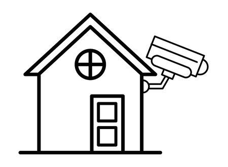 house front facade with cctv camera vector illustration design Ilustração