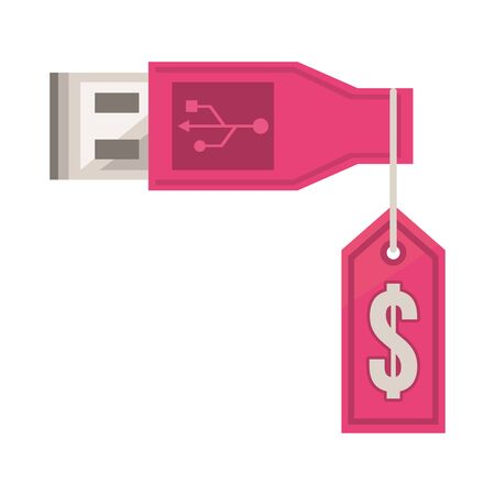 usb wire connector with tag hanging vector illustration design
