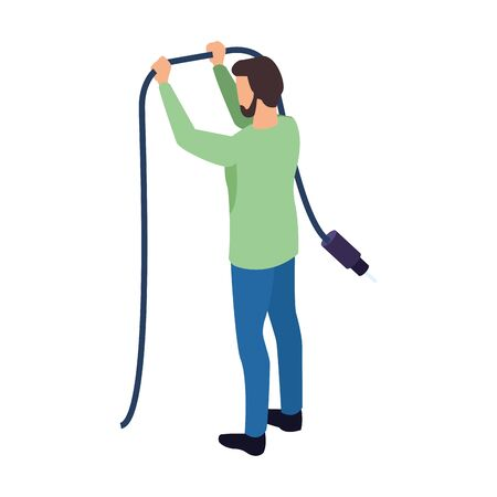 avatar man holding a cord icon over white background, vector illustration Иллюстрация