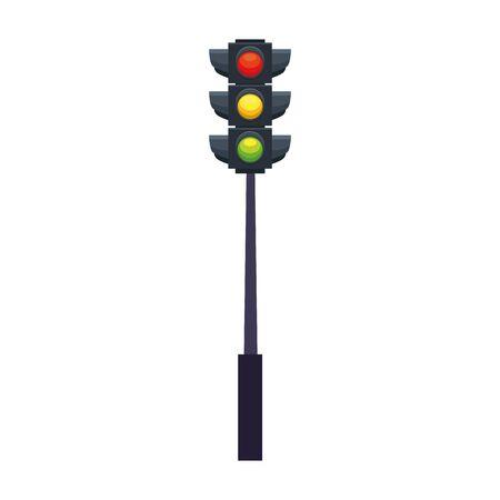 Traffic light icon over white background, colorful design, vector illustration