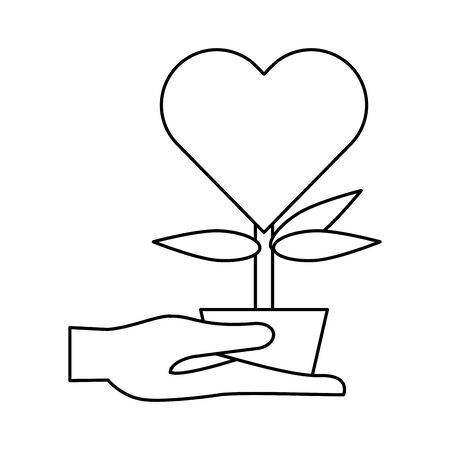 houseplant in pot with heart vector illustration design