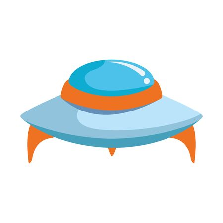 flying saucer icon over white background, vector illustration