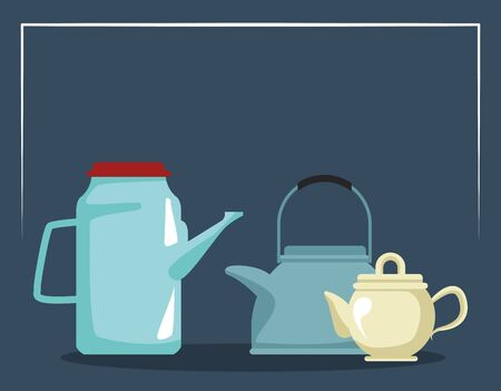 tea pots icon over blue background, colorful design , vector illustration