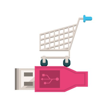 usb wire connector with shopping cart vector illustration design