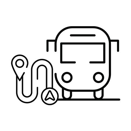pin pointer location guide with road and bus vector illustration design