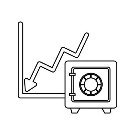 financial statistics graphic with safe box vector illustration design