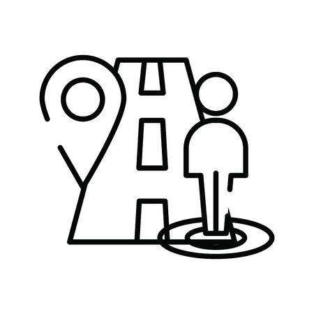 pedestrian silhouette walker in road vector illustration design