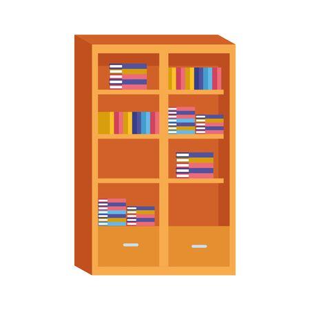 bookshelf icon over white background, vector illustration