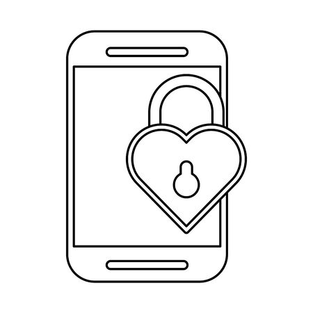 valentines day heart with padlock hole vector illustration design