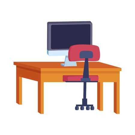 chair and study desk with computer over white background, vector illustration