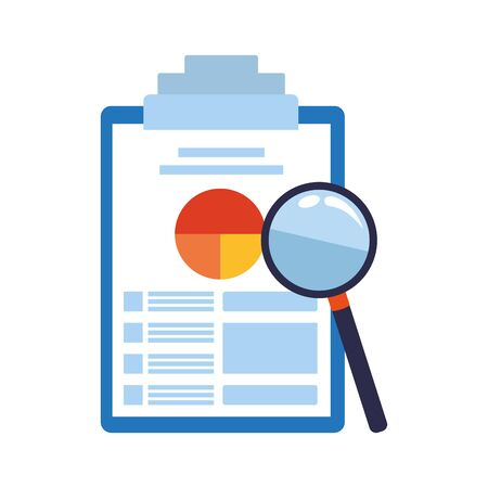 magnifying glass and clipboard with document with graphic charts over white background, vector illustration