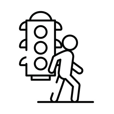 pedestrian silhouette walker with semaphore vector illustration design  イラスト・ベクター素材
