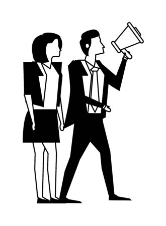 elegant business couple workers with megaphone vector illustration design