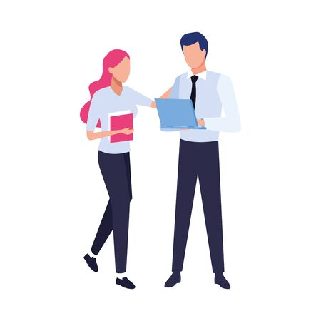 avatar business man holding a laptop computer and woman with documents over white background, vector illustration