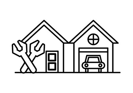 house and garage front facades with tools vector illustration design Standard-Bild - 138379141