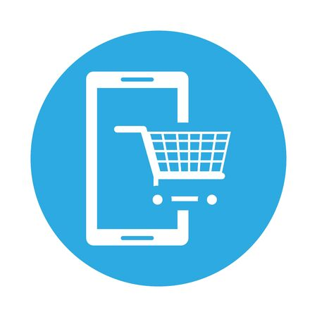 smartphone device with shopping cart vector illustration design Ilustração