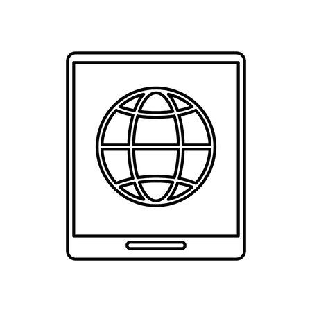 tablet device with sphere browser vector illustration design