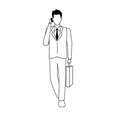 avatar businessman with cellphone and briefcase over white background, vector illustration Ilustrace