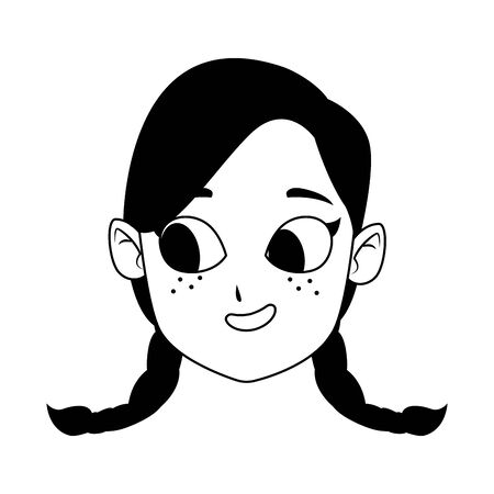 cartoon girl with braids icon over white background, flat design, vector illustration