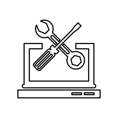 laptop computer portable with tools vector illustration design