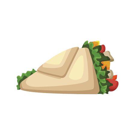 wrap icon over white background, fast food design, vector illustration Stok Fotoğraf - 138393214