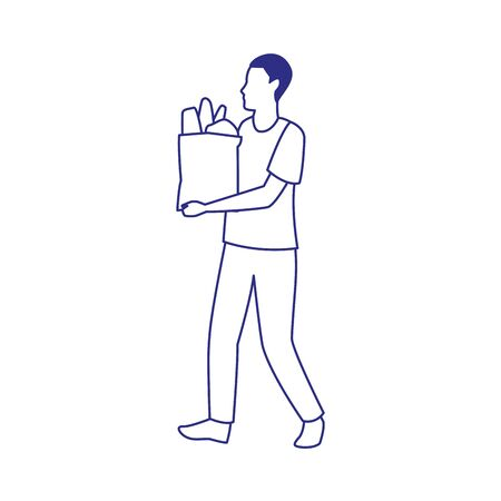 avatar man holding a supermarket bag icon over white background, vector illustration