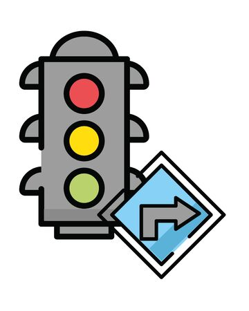 semaphore traffic light with arrow sign vector illustration design