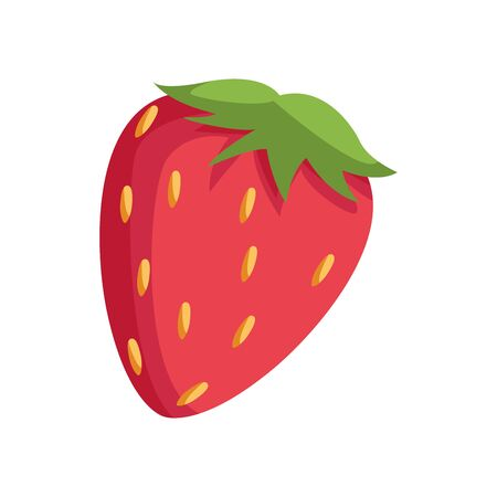 strawberry fruit icon over white background, vector illustration