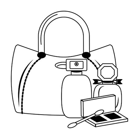 Make up and women fashion bag with perfumes and eye shadow vector illustration graphic design