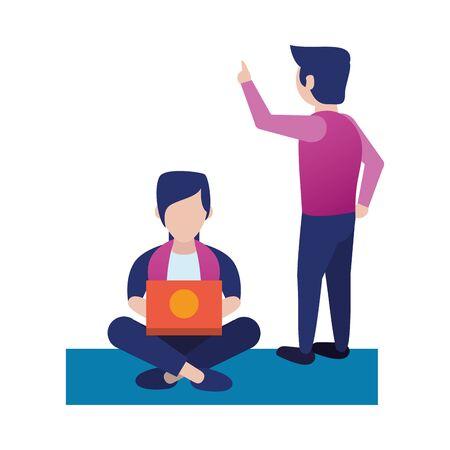 young men using laptop avatars characters vector illustration design Illustration