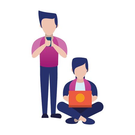 young men using smartphone and laptop vector illustration design