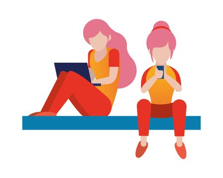 women using smartphone and laptop avatars characters vector illustration design