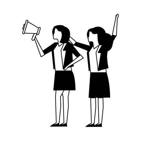 elegant businesswomen workers with megaphone vector illustration design